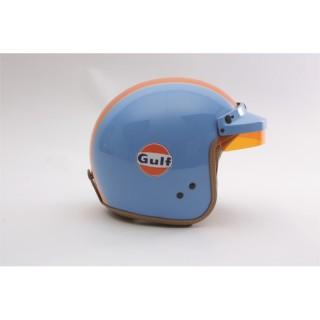 casque jet rétro gulf bleu