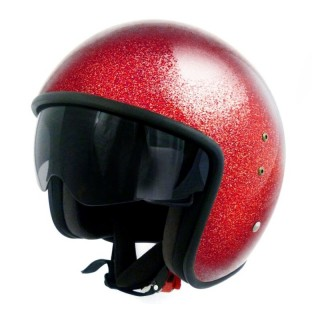 casque moto jet vintage smart glitter rouge