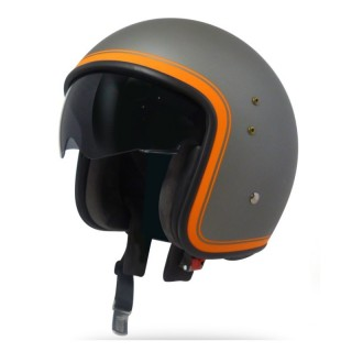 casque moto jet vintage smart border gun metal