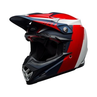 Casque moto 9 flex division blanc bleu rouge Off-Road