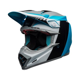 Casque moto 9 flex division noir blanc bleu Off-Road