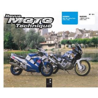 REVUE MOTO TECHNIQUE  91.2 HONDA XRV 750 AFRICA TWIN - SUZUKI GSX R 1100 W
