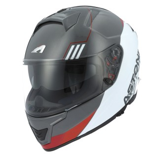 casque integral fibre astone gt 1000 f blanc et rouge split
