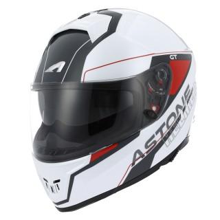 Casque moto intégral fibre astone gt 1000 f gamatron blanc et rouge