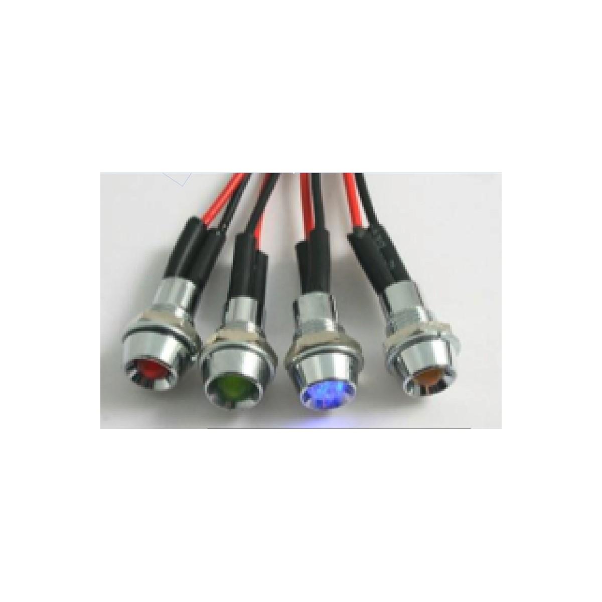 Mini voyant led MAD de couleur rouge, bleu, vert et orange.