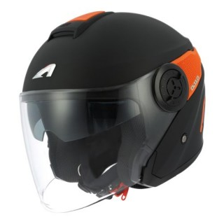 Casque moto Jet Astone DJ10 monocolor noir et orange