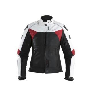 Blouson cuir v quattro SP 81 femme noir blanc et rouge