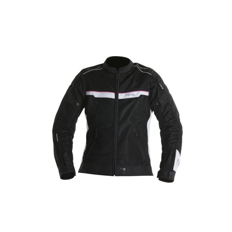 Blouson moto femme v quattro VE51 noir blanc et rose