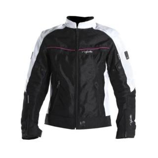 Blouson moto v quattro VE21 lady noir blanc et rose