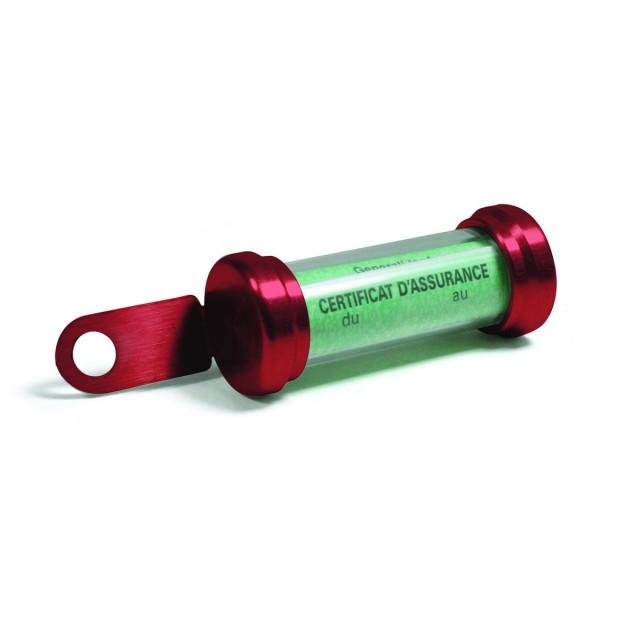 Porte vignette tube rouge
