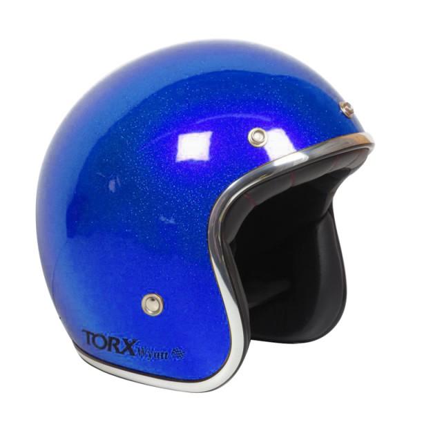 Casque moto Jet Wyatt bleu pailleté