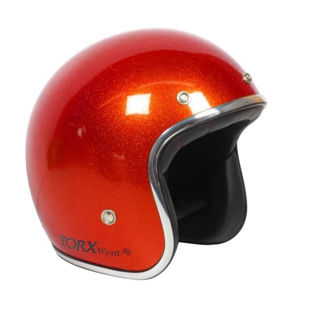 Casque moto Jet Wyatt rouge pailleté