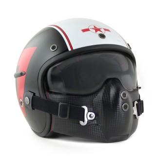 Casque moto jet harisson corsair tank noir rouge et blanc