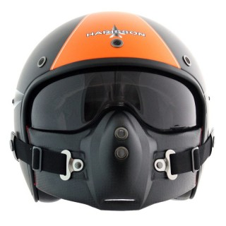 Casque moto jet harisson fireworks orange