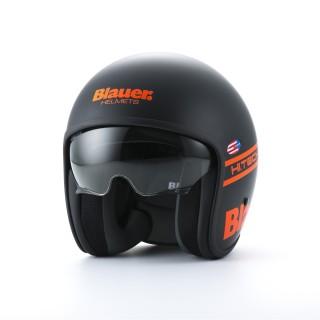 casque moto jet blauer pilot noir et orange