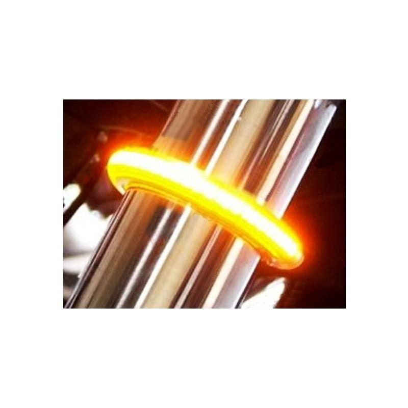 clignotants sur tube de fourche flex à leds