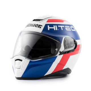 casque integral moto blauer force one 800 bleu et rouge