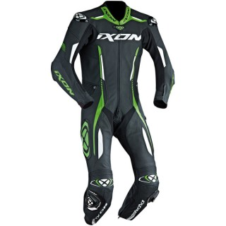 combinaison moto racing ixon vortex noir/blanc/vert fluo