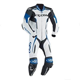 combinaison moto cuir ixon vortex blanc/bleu