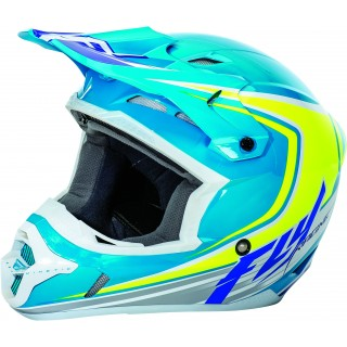 casque moto cross fly racing fly kinetic full speed bleu jaune blanc