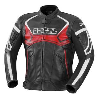 Blouson moto cuir ixs hype noir et rouge