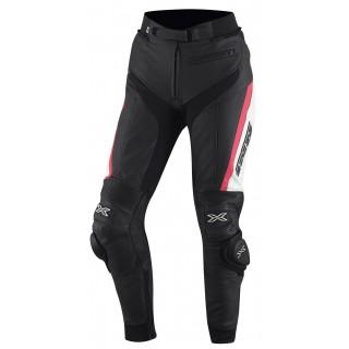 pantalon moto cuir rouven noir et rose