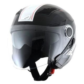 casque moto jet astone fj 10 graphic espada noir et blanc