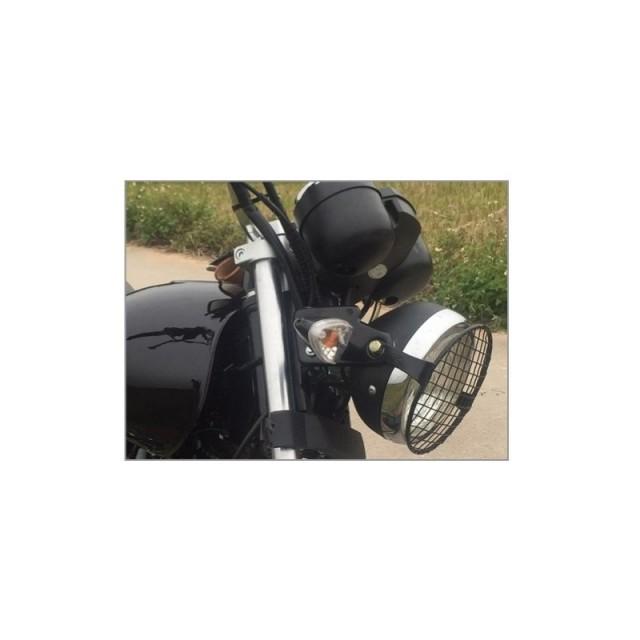 grille de phare moto noire