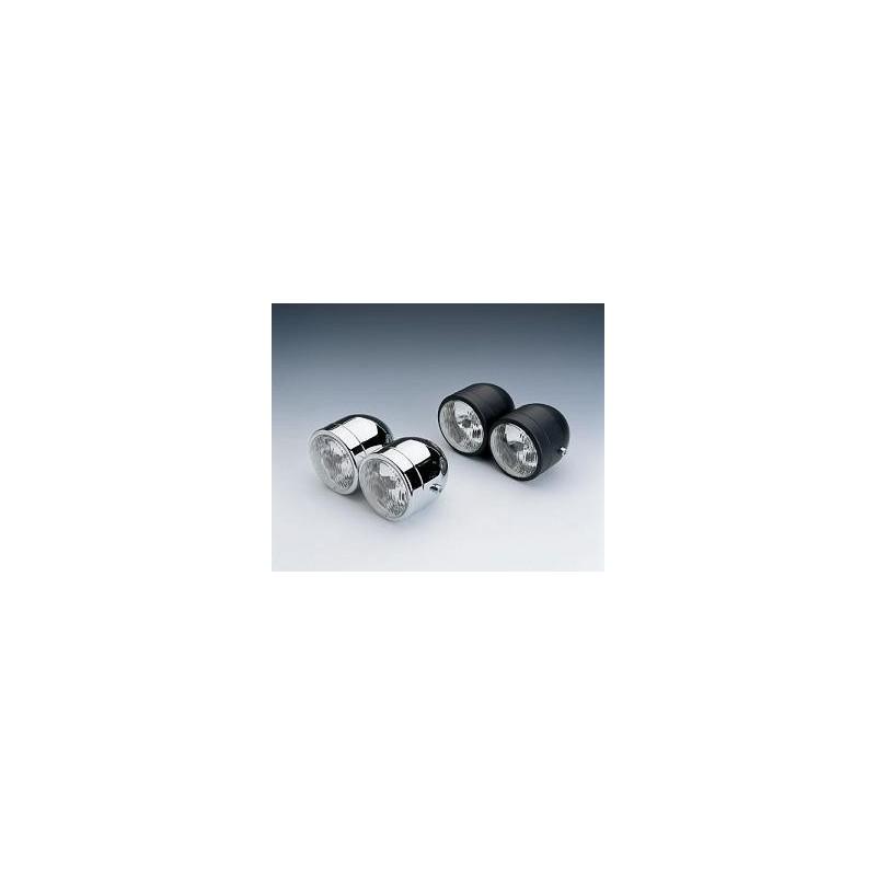 double phare moto avant rond noir ou chrome