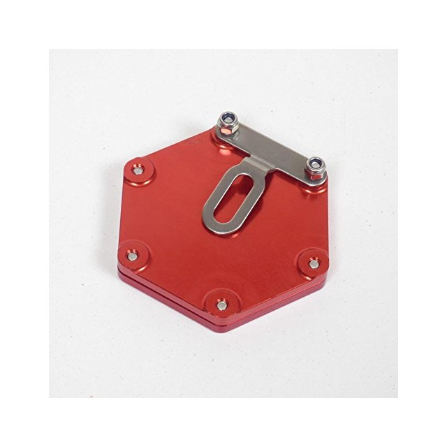 Support de vignette moto Mad alu hexagonal rouge