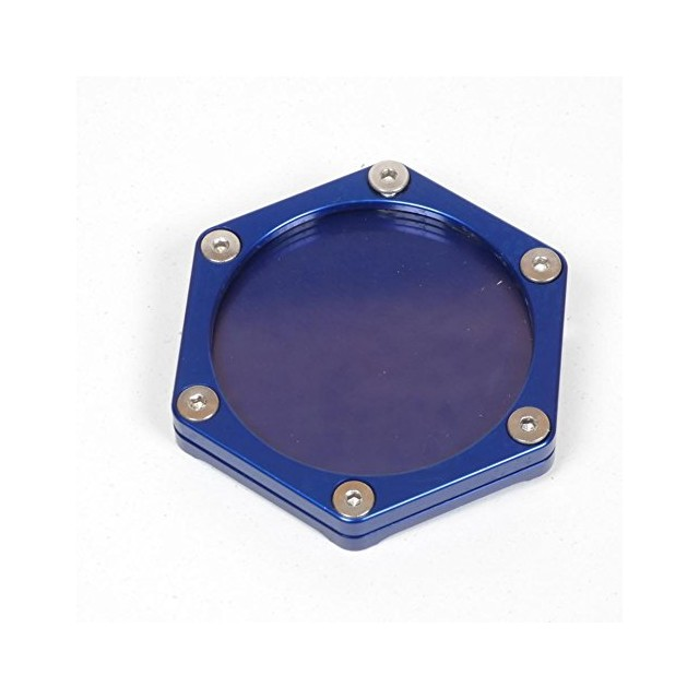Support de vignette moto Mad alu hexagonal bleu