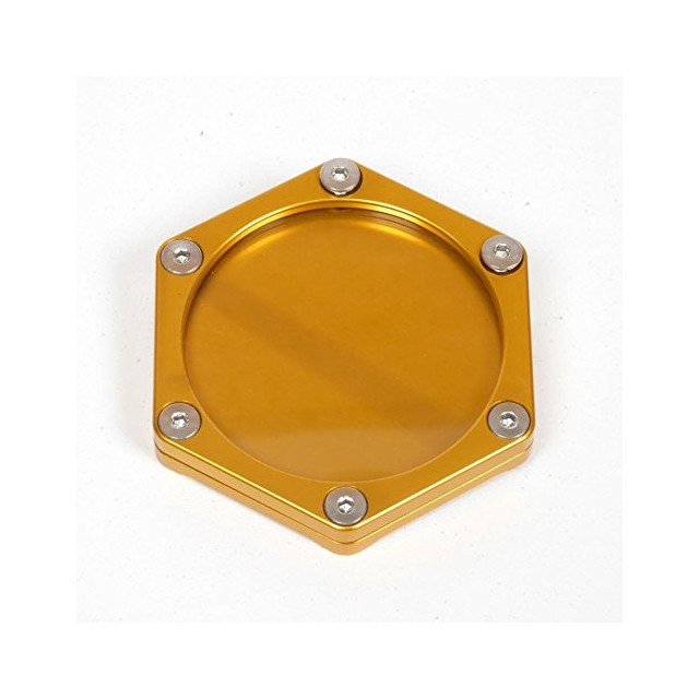 Support de vignette moto Mad alu hexagonal or
