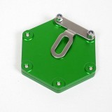 Support de vignette moto Mad alu hexagonal vert