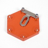 Support de vignette moto Mad alu hexagonal orange